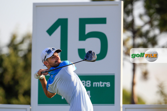Chris Selfridge (NIR) on the 15th tee during the 1st round of the 2017 Portugal Masters, Dom Pedro Victoria Golf Course, Vilamoura, Portugal. 21/09/2017<br /> Picture: Fran Caffrey / Golffile<br /> <br /> All photo usage must carry mandatory copyright credit (&copy; Golffile | Fran Caffrey)