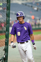 LSU Tigers shortstop Alex Bregman (8) in the batting cage before the game against the TCU Horned Frogs in Game 10 of the NCAA College World Series on June 18, 2015 at TD Ameritrade Park in Omaha, Nebraska. TCU defeated the Tigers 8-4, eliminating LSU from the tournament. (Andrew Woolley/Four Seam Images)