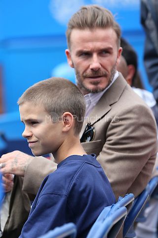 David Beckham and son, Romeo Beckham, attend Wawrinka vs Verdasco at Aegon Queens tennis Championship, London, England  June 13, 2016. <br /> CAP/GOL<br /> &copy;GOL/Capital Pictures /MediaPunch ***NORTH AND SOUTH AMERICAS ONLY***