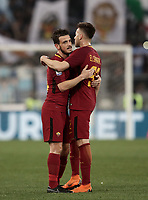 Calcio, Serie A: S.S. Lazio - A.S. Roma, stadio Olimpico, Roma, 15 aprile 2018. <br /> Roma's Alessandro Florenzi (l) greets Roma's Stephan El Shaarawy (r) at the end of the Italian Serie A football match between S.S. Lazio and A.S. Roma at Rome's Olympic stadium, Rome on April 15, 2018. <br /> S.S. Lazio and A.S. Roma drawn 0-0.<br /> UPDATE IMAGES PRESS/Isabella Bonotto