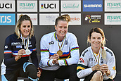 10th September 2017, Smithfield Forest, Cairns, Australia; UCI Mountain Bike World Championships; first place Miranda Miller (CAN) riding for Specialized Gravity, second Place Myriam Nicole (FRA) riding for Commencal / Vallnord and third place Tracey Hannah (AUS) riding for Polygon UR on the podium for the elite womens downhill race;