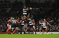 Barbarians Josh Strauss claims the lineout<br /> <br /> Photographer Ian Cook/CameraSport<br /> <br /> 2019 Autumn Internationals - Wales v Barbarians - Saturday 30th November 2019 - Principality Stadium - Cardifff<br /> <br /> World Copyright © 2019 CameraSport. All rights reserved. 43 Linden Ave. Countesthorpe. Leicester. England. LE8 5PG - Tel: +44 (0) 116 277 4147 - admin@camerasport.com - www.camerasport.com
