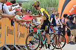 Sepp Kuss (USA) Team Jumbo-Visma with fans at sign on before the start of Stage 4 of La Vuelta 2019 running 175.5km from Cullera to El Puig, Spain. 27th August 2019.<br /> Picture: Eoin Clarke | Cyclefile<br /> <br /> All photos usage must carry mandatory copyright credit (© Cyclefile | Eoin Clarke)