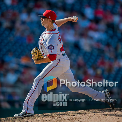30 April 2017: Washington Nationals pitcher Blake Treinen on the mound in the 9th inning against the New York Mets at Nationals Park in Washington, DC. The Nationals defeated the Mets 23-5, with the Nationals setting several individual and team records, in the third game of their weekend series. Mandatory Credit: Ed Wolfstein Photo *** RAW (NEF) Image File Available ***