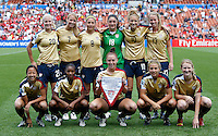USA (Back to Front L-R) Olivia Klei, Courtney Verloo, Vicki DiMartino, Taylor Vancil, Kristie Mewis, Julia Roberts, Rachel Quon, Crystal Dunn, Cloee Colohan, Amber Brooks, Sam Mewis..FIFA U17 Women's World Cup, USA v Korea Republic, Waikato Stadium, Hamilton, New Zealand, Sunday 9 November 2008. Photo: Renee McKay/PHOTOSPORT