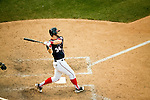 Washington Nationals outfielder Bryce Harper (34) swings during a game against the Miami Marlins at Nationals Park in Washington, DC on September 9, 2012.