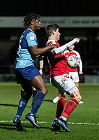 Fleetwood Town's Ched Evans competing with Wycombe Wanderers' Anthony Stewart (left) <br /> <br /> Photographer Andrew Kearns/CameraSport<br /> <br /> The EFL Sky Bet League One - Wycombe Wanderers v Fleetwood Town - Tuesday 11th February 2020 - Adams Park - Wycombe<br /> <br /> World Copyright © 2020 CameraSport. All rights reserved. 43 Linden Ave. Countesthorpe. Leicester. England. LE8 5PG - Tel: +44 (0) 116 277 4147 - admin@camerasport.com - www.camerasport.com