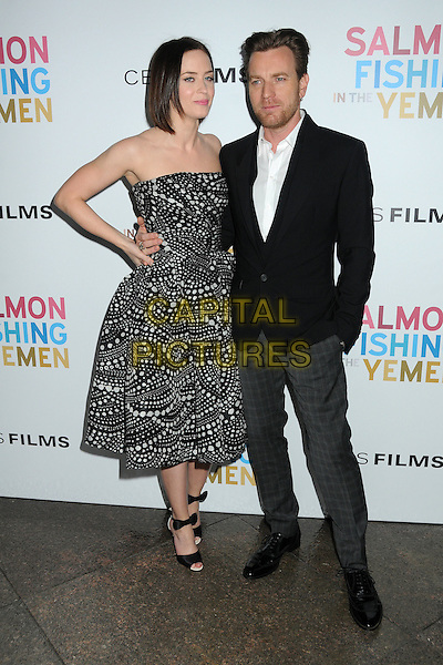 Emily Blunt and Ewan McGregor.CBS Films' U.S. Premiere of 'Salmon Fishing In The Yemen' held at The Directors Guild of America in West Hollywood, California, USA..March 5th, 2012.full length dress suit jacket shirt white black print strapless hand on hip .CAP/ADM/BP.©Byron Purvis/AdMedia/Capital Pictures.