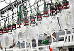 Lights hang from a squid fishing boat in Oma Port,  northern Japan on 23 September 2008. Many boats formerly used for squid fishing in the area are now used for the more profitable tuna fishing..Photographer: Robert Gilhooly