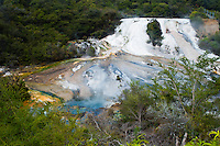 Rainbow Terrace, a Silica Terrace at Orakei Korako Geyserland, The Hidden Valley, North Island, New Zealand. Orakei Korako in a geothermal area in the Waikato Region of North Island, New Zealand. It is home to some of the largest silica terraces in the world and includes a variety of geothermal activity including bubbling mudpools, steaming hot springs and erupting geysers.