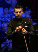 27th February 2020; Waterfront, Southport, Merseyside, England; World Snooker Championship, Coral Players Championship; Mark Selby (ENG) lines up his next shot during his quarter-final match against Stephen Maguire (SCO)