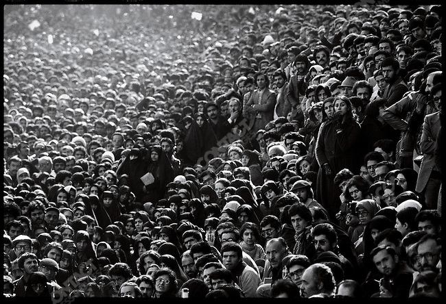 The crowd at Tehran University listens to an anti-Shah speech by the Ayatollah Mahmoud Taleghani. Tehran, Iran, January 13, 1979