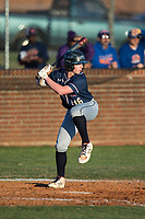 Konni Durschlag (16) of the Mallard Creek Mavericks at bat against the Glenn Bobcats at Dale Ijames Stadium on March 22, 2017 in Kernersville, North Carolina.  The Bobcats defeated the Mavericks 12-2 in 5 innings.  (Brian Westerholt/Four Seam Images)