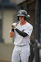 GCL Yankees West designated hitter Matt Pita (16) on deck during a game against the GCL Tigers West on August 10, 2018 at Yankee Complex in Tampa, Florida.  GCL Yankees West defeated GCL Tigers West 6-5.  (Mike Janes/Four Seam Images)