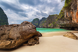 The beach of the Phi Phi Islands made famous by a movie of the same name.