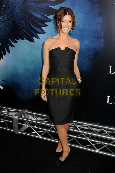 "KATE WALSH.""Legion"" Los Angeles Premiere held at Arclight Cinemas Cinerama Dome,  Hollywood, California, USA, .21st January 2010..full length black dress strapless shoes heels hand in pocket patterned pattern platform .CAP/ADM/BP.©Byron Purvis/AdMedia/Capital Pictures."
