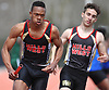 Jovahn Williamson of Half Hollow Hills West anchors his team to victory in the open 4x400 relay during the Dennis Walker Classic at Huntington High School on Saturday, April 15, 2017. He also won the open 200 meter dash with a time of 22.21.