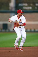 Springfield Cardinals shortstop Aledmys Diaz (16) throws to first during a game against the Frisco RoughRiders  on June 3, 2015 at Hammons Field in Springfield, Missouri.  Springfield defeated Frisco 7-2.  (Mike Janes/Four Seam Images)