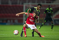 John Goddard of Swindon Town holds off Josemar Quintero of Chelsea during the The Checkatrade Trophy match between Swindon Town and Chelsea U23 at the County Ground, Swindon, England on 13 September 2016. Photo by Andy Rowland.