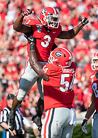ATHENS, GA - SEPTEMBER 7: Zamir White #3 and Justin Shaffer #54 celebrate White's touchdown during a game between Murray State Racers and University of Georgia Bulldogs at Sanford Stadium on September 7, 2019 in Athens, Georgia.