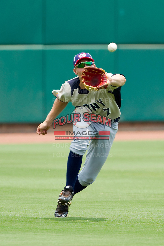 Left fielder Eric Neitzel #7 of PONY makes a running catch against Dixie at the 2011 Tournament of Stars at the USA Baseball National Training Center on June 26, 2011 in Cary, North Carolina.  PONY defeated Dixie 4-3. (Brian Westerholt/Four Seam Images)