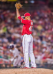 22 August 2015: Washington Nationals pitcher Joe Ross stands on the mound after giving up a solo home run to Milwaukee Brewers outfielder Khris Davis to lead off the 7th inning at Nationals Park in Washington, DC. The Nationals defeated the Brewers 6-1 in the second game of their 3-game weekend series. Mandatory Credit: Ed Wolfstein Photo *** RAW (NEF) Image File Available ***