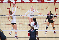 STANFORD, CA - November 4, 2018: Jenna Gray, Kathryn Plummer, Tami Alade at Maples Pavilion. No. 2 Stanford Cardinal defeated the Utah Utes 3-0.