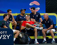 7th January 2020; RAC Arena, Perth, Western Australia; ATP Cup Australia, Perth, Day 5; USA versus Italy; Team USA share a laugh during a break in play against Italy - Editorial Use