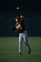Zach Dixon (6) of the Arizona Sun Devils throws in the outfield before against the Southern California Trojans at Dedeaux Field on March 24, 2017 in Los Angeles, California. Southern California defeated Arizona State, 5-4. (Larry Goren/Four Seam Images)