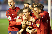 Iñigo Pérez (midfield; CA Osasuna) celebrates the goal during the Spanish football of La Liga 123, match between CA Osasuna and CD Lugo at the Sadar stadium, in Pamplona (Navarra), Spain, on Sanday, December 2, 2018.