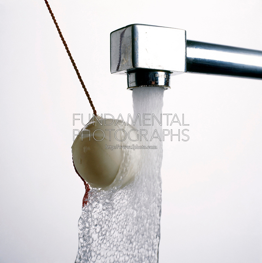 BERNOULLI'S PRINCIPLE: BALL IN STREAM OF WATER (2 of 2)<br /> Ping Pong Ball Attracted to Stream of Water<br /> Bernoulli's principle shows that the flow of water lowers the air pressure on the right side of the ball. The higher pressure on the left pushes it  into the stream of water.  The ball stays in the stream of water even as the string is pulled.