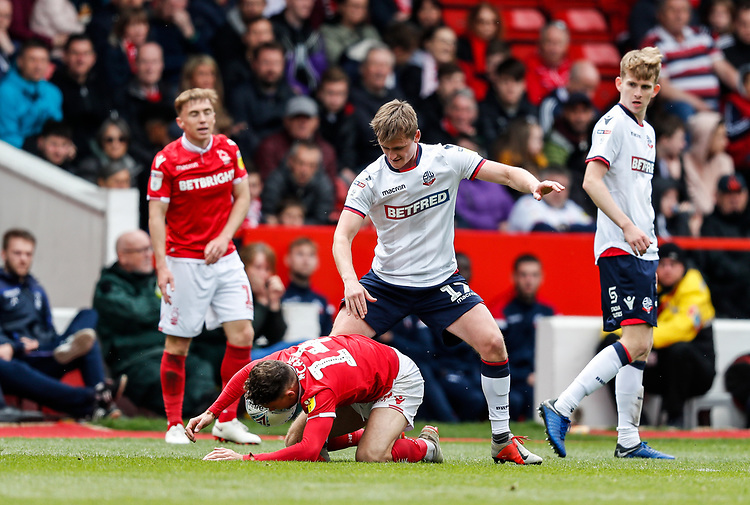 Bolton Wanderers' Callum Connolly competing with Nottingham Forest's Matty Cash <br /> <br /> Photographer Andrew Kearns/CameraSport<br /> <br /> The EFL Sky Bet Championship - Nottingham Forest v Bolton Wanderers - Sunday 5th May 2019 - The City Ground - Nottingham<br /> <br /> World Copyright © 2019 CameraSport. All rights reserved. 43 Linden Ave. Countesthorpe. Leicester. England. LE8 5PG - Tel: +44 (0) 116 277 4147 - admin@camerasport.com - www.camerasport.com