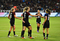 Carson, CA - November 13, 2016: The U.S. Women's National team go to defeat Romania 5-0 with Samantha Mewis contributing a goal in an international friendly game at StubHub Center.