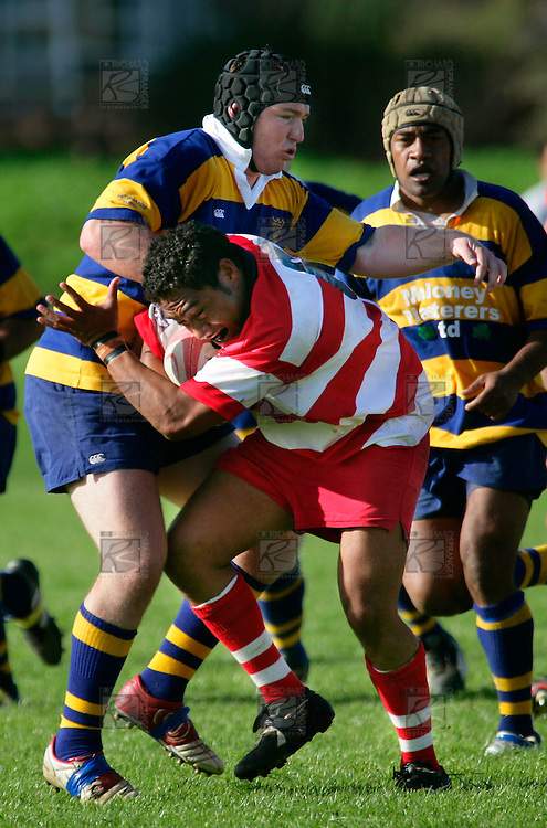 C. Maloney attempts to tackle Karaka's S. Afefaio. Counties Manukau Premier Club Rugby, Patumahoe vs Karaka played at Patumahoe on Saturday 22nd April 2006. Karaka won 19 - 6.