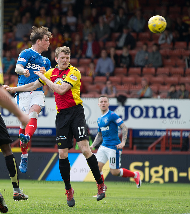 Joe Garner heads in the winner for Rangers