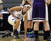 Carlee Cottrell, Waterford Our Lady of the Lakes, slowly gets up from the floor after taking an elbow to the stomach by an Athens defender during Class D championship action at the Breslin Center Saturday, March 17, 2012.