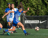 Boston, MA - Saturday August 19, 2017: Alex Morgan, Angela Salem during a regular season National Women's Soccer League (NWSL) match between the Boston Breakers (blue) and the Orlando Pride (white/light blue) at Jordan Field. Orlando Pride defeated Boston Breakers, 2-1.