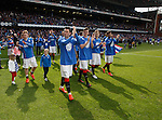 Rangers players take the acclaim from the fans