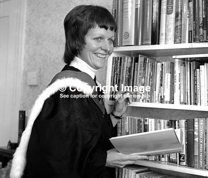 Rev Ruth Patterson, Larne, Co Antrim, N Ireland, the first woman to be ordained into the ministry of the Presbyterian Church in Ireland. January 1976. 197601030002a<br />