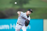 Kannapolis Intimidators relief pitcher William Kincanon (29) delivers a pitch to the plate against the West Virginia Power at Kannapolis Intimidators Stadium on July 25, 2018 in Kannapolis, North Carolina. The Intimidators defeated the Power 6-2 in 8 innings in game one of a double-header. (Brian Westerholt/Four Seam Images)