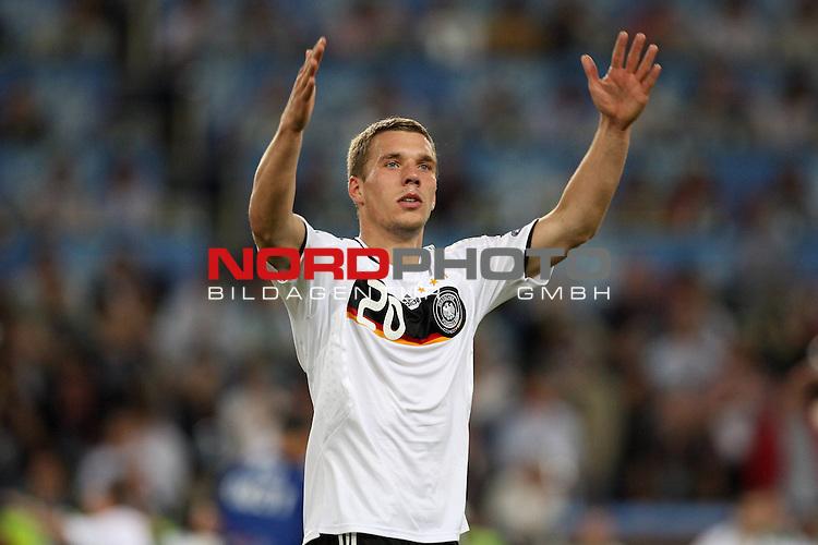 UEFA Euro 2008 Quarter-Finals Match 25 Basel - St. Jakob-Park. Portugal ( POR ) - Deutschland ( GER ) 2:3 (1:2). <br /> Lukas Podolski ( Germany / Angreifer / Forward / Bayern Muenchen #20 ) gestikuliert mit den H&auml;nden.<br /> Foto &copy; nph (  nordphoto  )