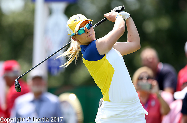 DES MOINES, IA - AUGUST 18: Europe's Madelene Sagstrom hits her tee shot on the 1st hole during her afternoon match at the 2017 Solheim Cup in Des Moines, IA. (Photo by Dave Eggen/Inertia)