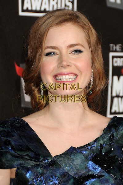 AMY ADAMS .16th Annual Critics' Choice Movie Awards held at the Hollywood Palladium, Hollywood, California, USA, 14th January 2011..portrait headshot hair up smiling  blue green floral print .CAP/ADM/BP.©Byron Purvis/AdMedia/Capital Pictures.