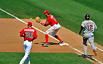 8 June 2008: Washington Nationals' infielder Aaron Boone makes the play at first to end the eighth inning against the San Francisco Giants at Nationals Park in Washington, DC. The Nationals dropped the afternoon matchup to the Giants 6-3 in their third consecutive loss of the 4-game series...Mandatory Photo Credit: Ed Wolfstein Photo