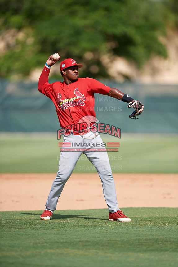 GCL Cardinals third baseman Elehuris Montero (23) throws to first base during a game against the GCL Mets on July 23, 2017 at Roger Dean Stadium Complex in Jupiter, Florida.  GCL Cardinals defeated the GCL Mets 5-3.  (Mike Janes/Four Seam Images)
