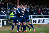 8th February 2020; Dens Park, Dundee, Scotland; Scottish Championship Football, Dundee versus Partick Thistle; Kane Hemmings of Dundee is congratulated after scoring for 2-0