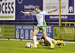 2015-10-31 /voetbal / seizoen 2015 - 2016 / Dessel Sport - KSK Heist / Keeper Dean Michiels (onder) (Heist) probeert de bal uit de voet van Kevin Vandenbergh (Dessel Sport) te halen