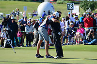 Cristie Kerr (USA) is congratulated by her caddie following  round 4 of  the Volunteers of America Texas Shootout Presented by JTBC, at the Las Colinas Country Club in Irving, Texas, USA. 4/30/2017.<br /> Picture: Golffile | Ken Murray<br /> <br /> <br /> All photo usage must carry mandatory copyright credit (&copy; Golffile | Ken Murray)