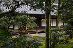 Traditional Japanese architecture of a house courtyard with an inner garden in Kyoto, Japan