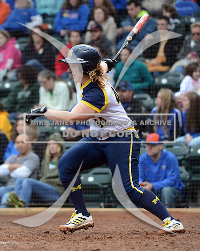 Michigan Wolverines infielder Caitlin Blanchard (44) at bat during the season opener against the Florida Gators on February 8, 2014 at the USF Softball Stadium in Tampa, Florida.  Florida defeated Michigan 9-4 in extra innings.  (Copyright Mike Janes Photography)